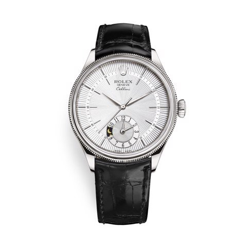 Rolex Cellini Dual Time 39mm White Gold Silver Black Strap 50529-0006