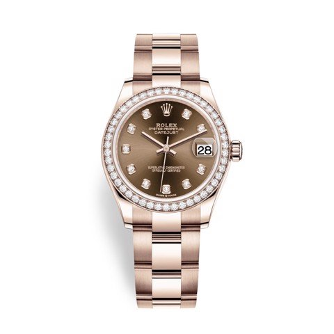 Rolex Datejust 31mm Everose Gold Diamonds Brown 278285RBR-0012