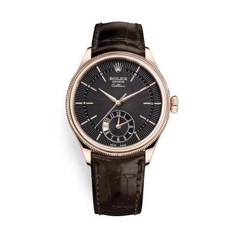 Rolex Cellini Dual Time 39mm Rose Gold Black Brown 50525-0010
