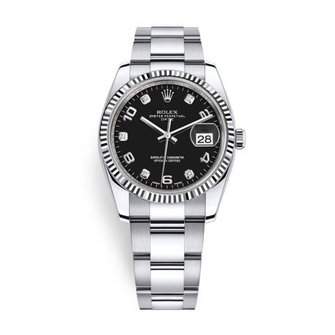 Rolex Date 34mm Steel - White Gold Diamonds Black 115234-0011