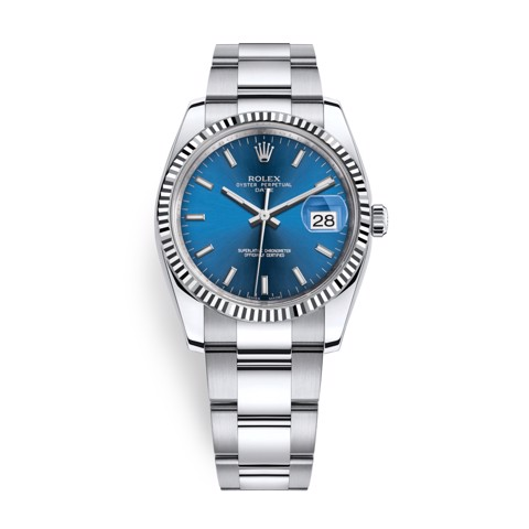 Rolex Date 34mm Steel - White Gold Blue 115234-0004