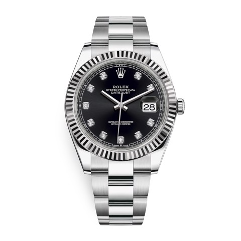 Rolex Datejust 41mm Stainless Steel Black Diamonds 126334-0011