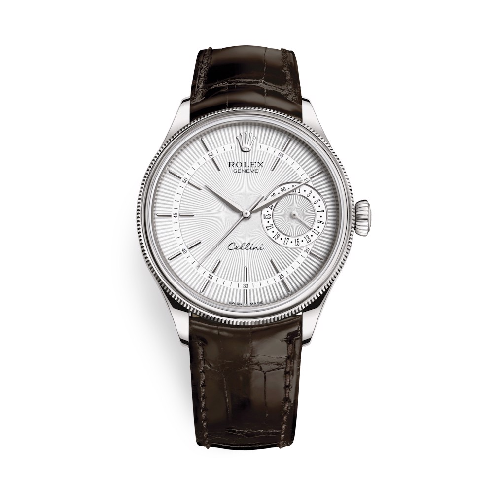 Rolex Cellini Date 39mm White Gold Silver Brown 50519-0012