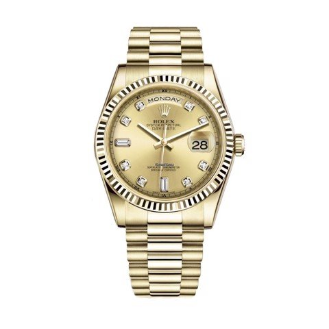 Rolex Day-Date 36mm Yellow Gold Champagne Diamond President 118238