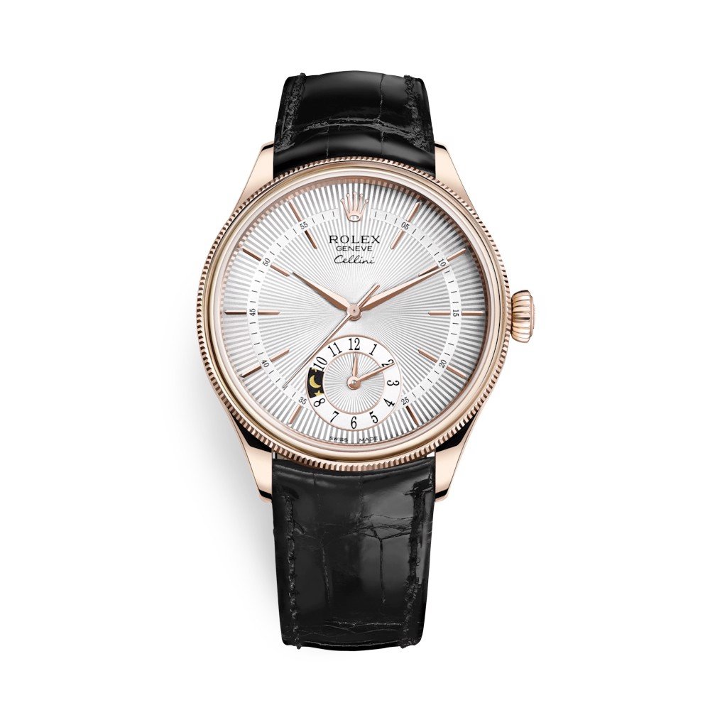 Rolex Cellini Dual Time 39mm Rose Gold Silver Black Strap 50525-0009