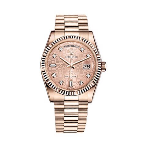 Rolex Day-Date 36mm Everose Gold Pink Jubilee Diamond President 118235