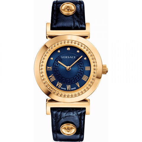 Đồng hồ nữ Versace Vanity Rose Gold Blue Leather Strap 35mm