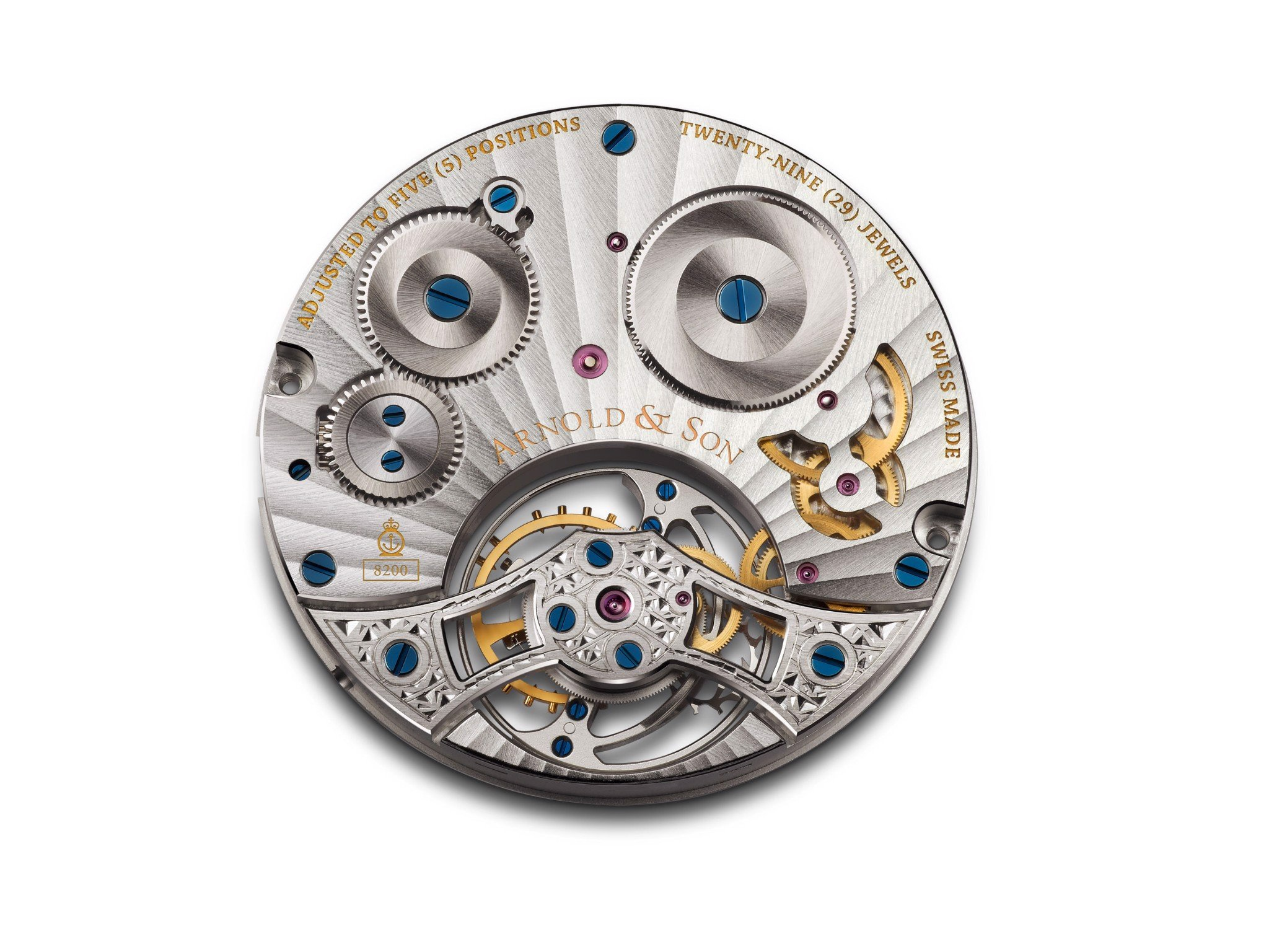 Arnold & Son Instrument UTTE Tourbillon Rose Gold Silver Pattern Dial