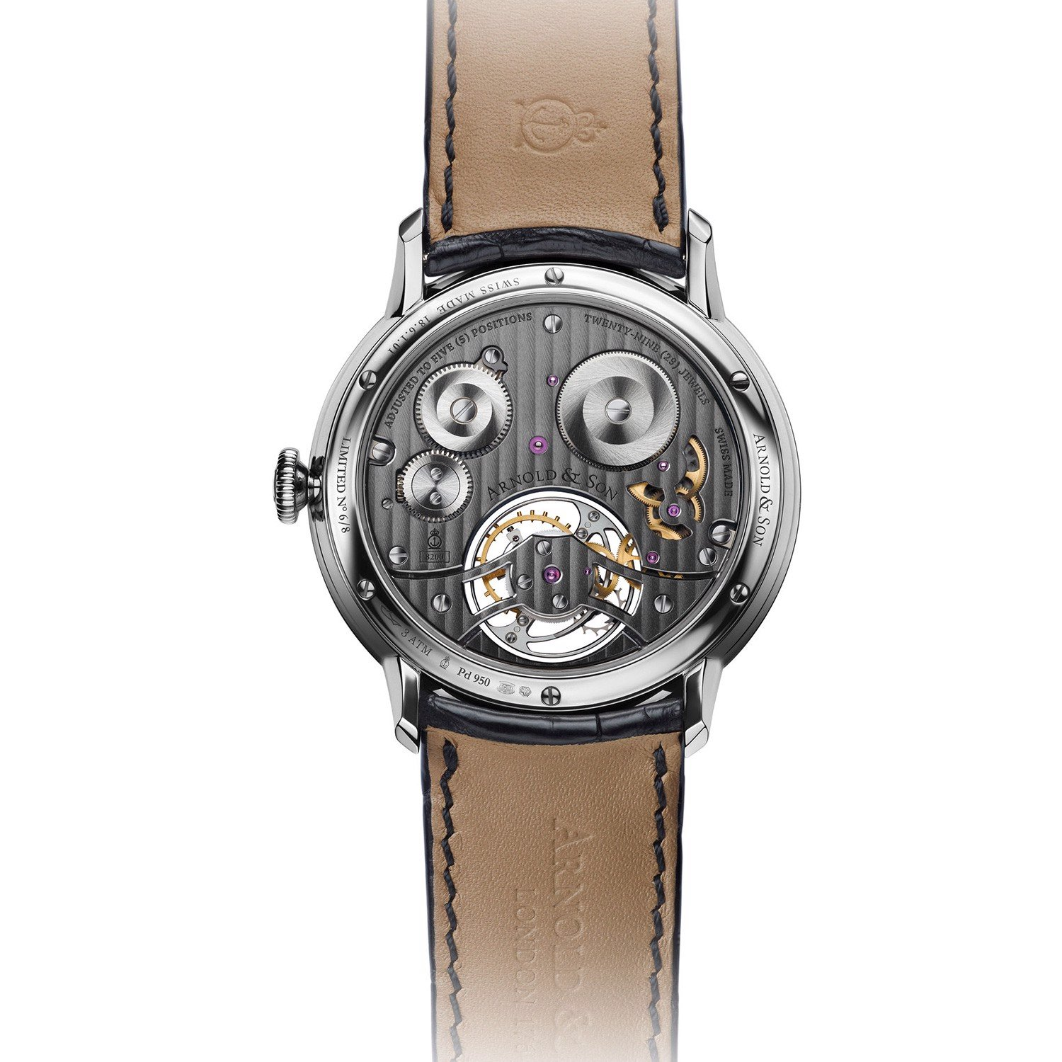 Arnold & Son Instrument UTTE Tourbillon Palladium Grey Pattern Dial