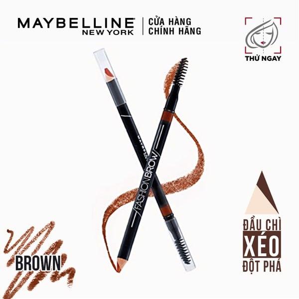 Chì Kẻ Mày 2 Đầu Với Đầu Chì Xéo Mềm Mịn 12H Maybelline New York Fashion Brow Cream Pencil 0.8g