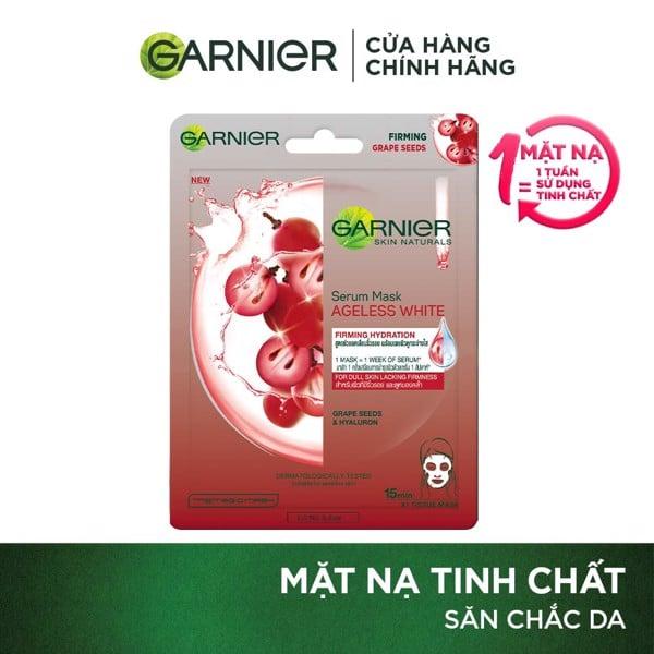 Mặt nạ tinh chất Nho đỏ & Hyaluron săn chắc da Garnier Hydra Bomb Grape Seed Serum Mask 28g