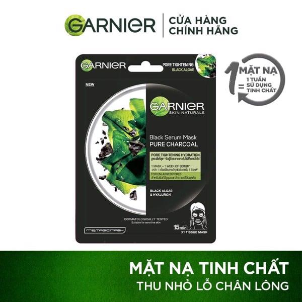 Mặt nạ tinh chất rong biển & than tre thanh lọc da Garnier Charcoal & Black Algae Serum Mask 28g