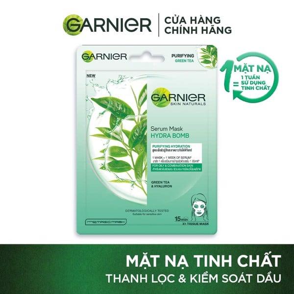 Mặt nạ tinh chất Trà xanh & Hyaluron kiềm dầu Garnier Hydra Bomb Green Tea Serum Mask 28g