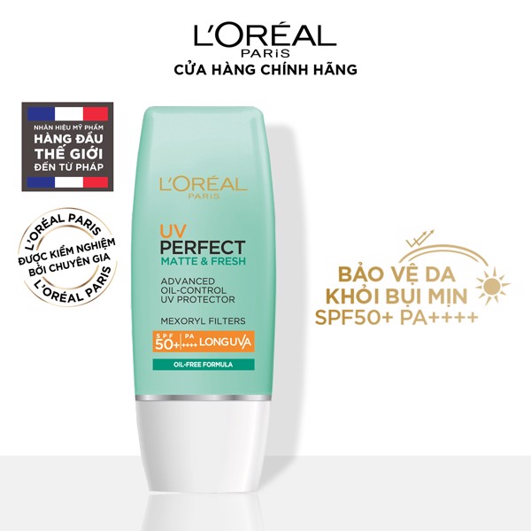 Kem chống nắng kiềm dầu & se mịn lỗ chân lông L'Oréal Paris UV Perfect Fresh & Matte SPF50+ PA++++