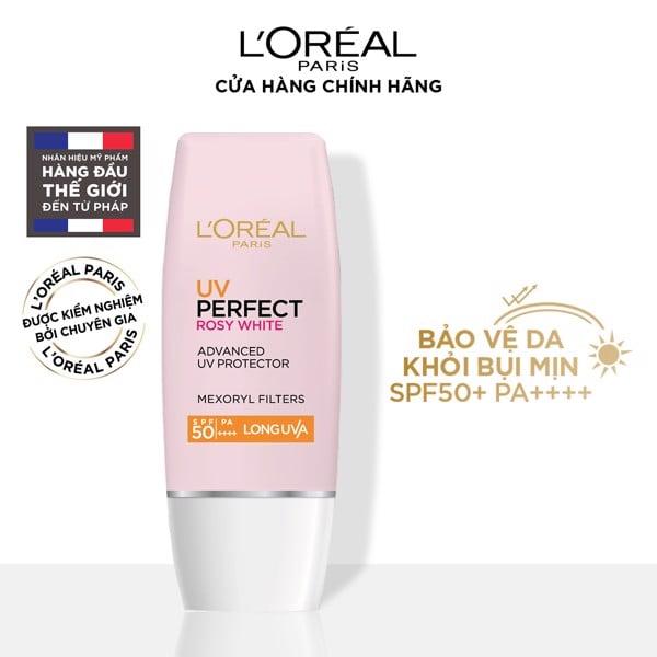 Kem chống nắng dưỡng trắng da L'Oréal Paris UV Perfect Rosy White SPF50+/PA ++++