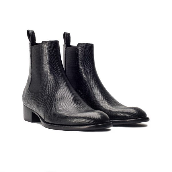 THE WILD WALK CHELSEA BOOT – BLACK LIZARD