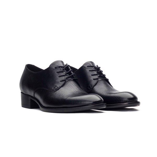 THE 4CM HEEL DERBY – BLACK LIZARD