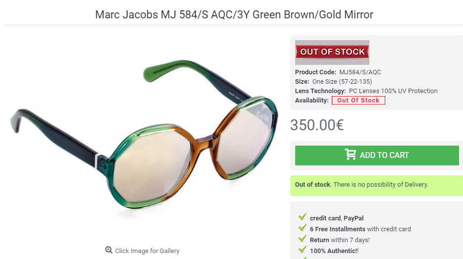 Marc Jacobs MJ 584 S AQC 3Y