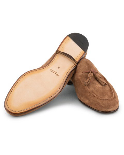 Santoni suede tassel loafers - light brown