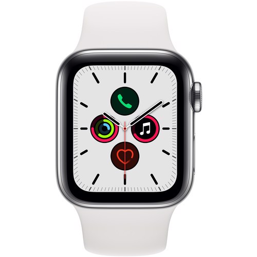 Apple Watch Series 5 40mm Stainless Steel Case with White Sport Band