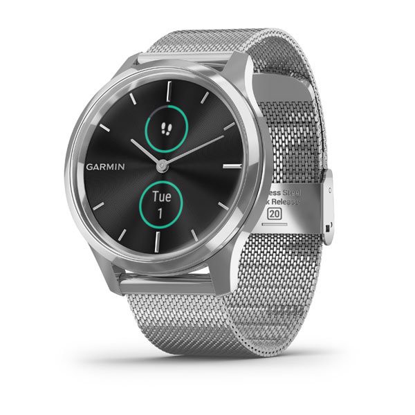 Garmin vívomove Silver Stainless Steel Case with Silver Milanese Band