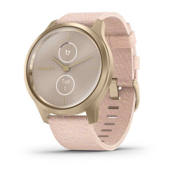 Garmin vívomove® Style Light Gold Aluminum Case with Blush Pink Woven Nylon Band
