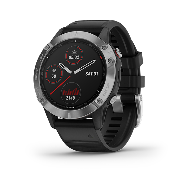 Garmin Fenix 6, Sapphire - Silver with Black Band