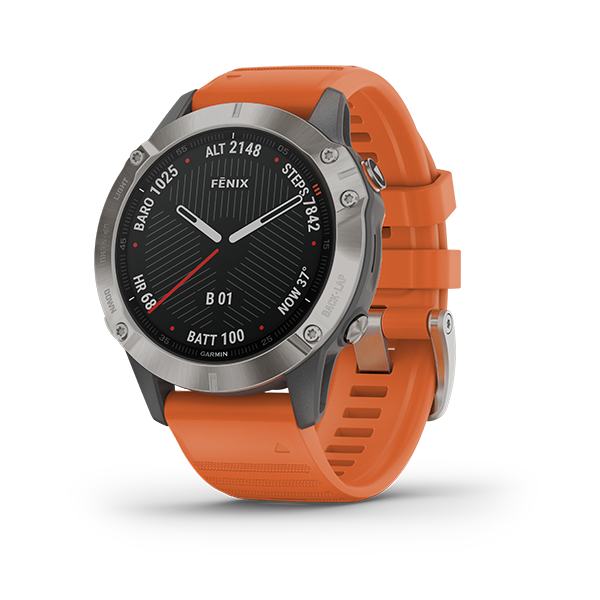 Garmin Fenix 6, Sapphire - Titanium with Ember Orange Band