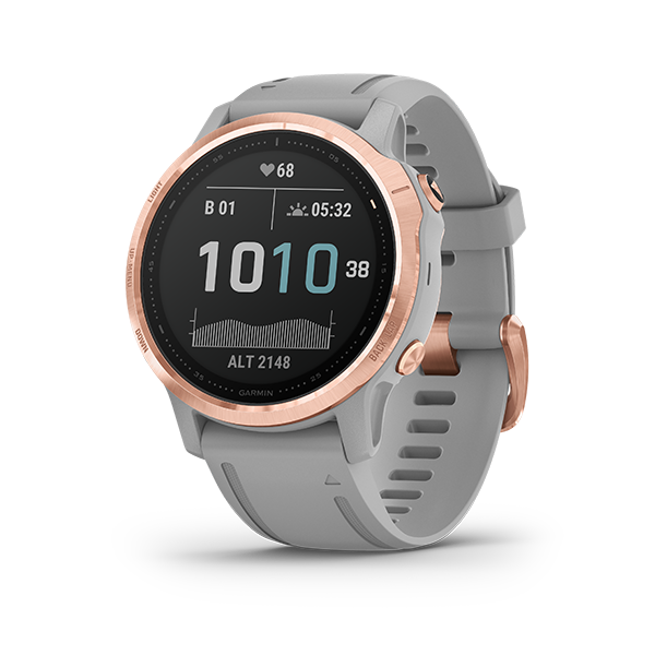 Garmin Fenix 6S, Sapphire - Rose Gold-tone with Powder Gray Band