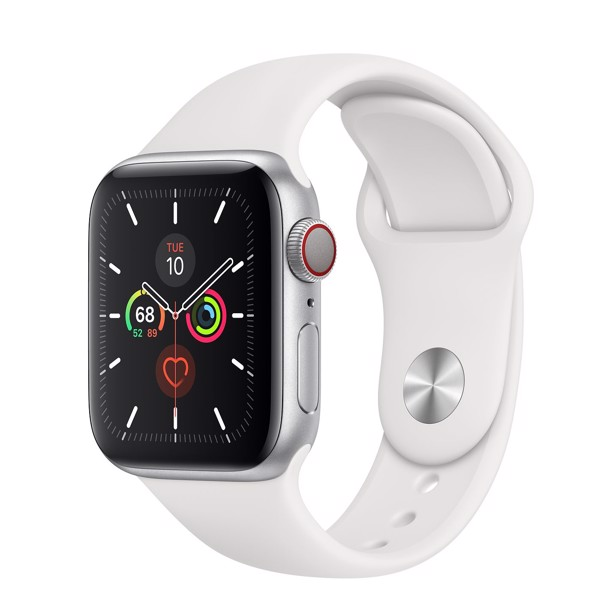 Apple Watch Series 5 LTE 40mm Silver Aluminium Case with White Sport Band