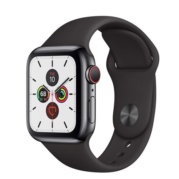 Apple Watch Series 5 40mm Space Black Stainless Steel Case with Black Sport Band