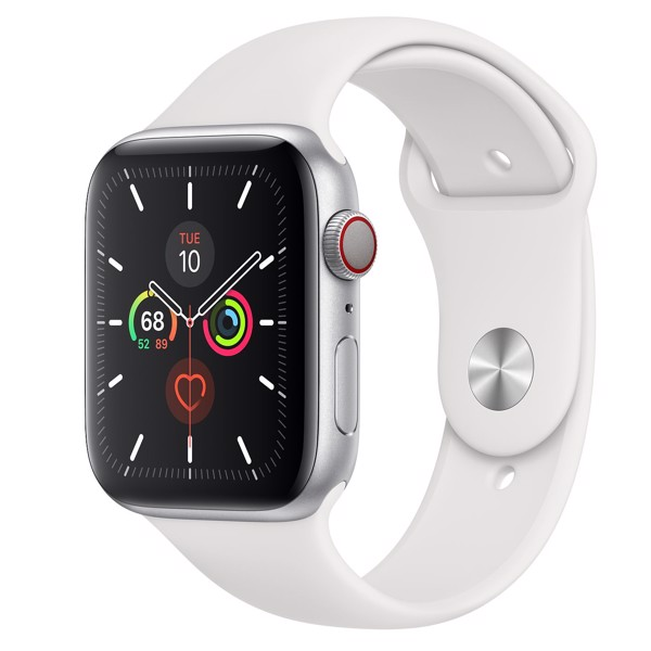 Apple Watch Series 5 LTE 44mm Silver Aluminium Case with White Sport Band