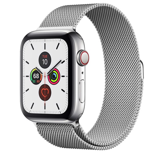 Apple Watch Series 5 44mm Stainless Steel Case with Milanese Loop