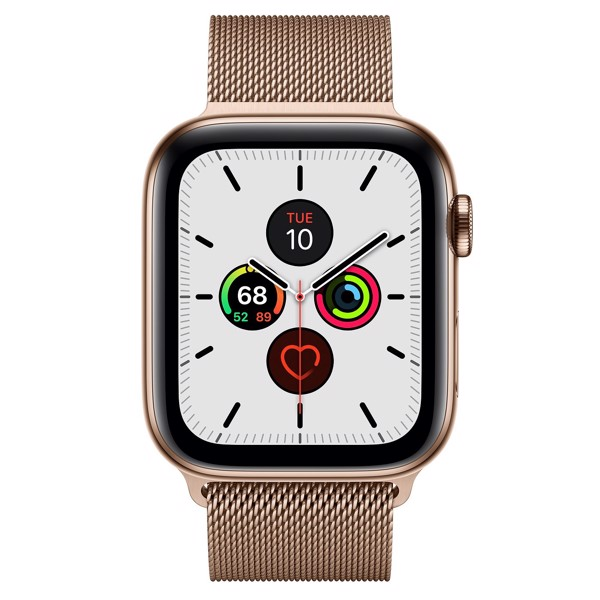 Apple Watch Series 5 44mm Gold Stainless Steel Case with Gold Milanese Loop