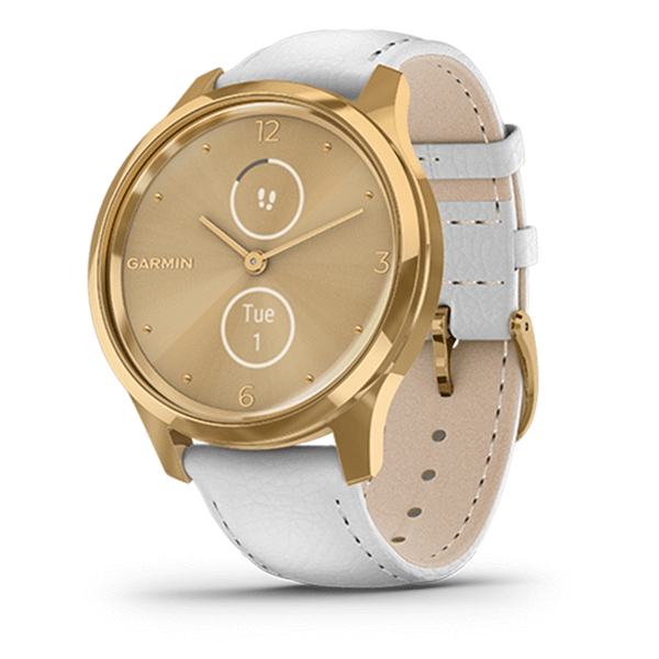 Garmin vívomove® Luxe 24K Gold PVD Stainless Steel Case with White Italian Leather Band