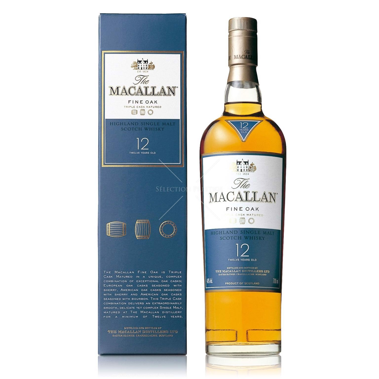 Rượu The Macallan Fine Oak 12 Years Old 0.7L (40% Vol.)