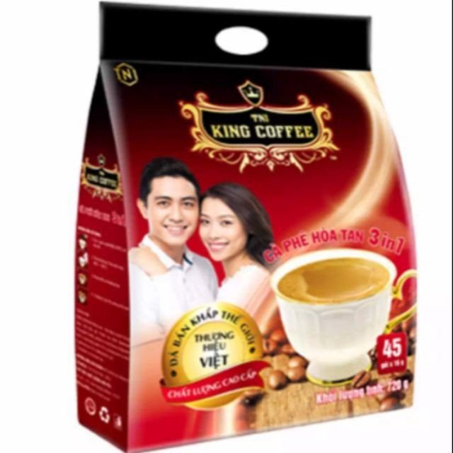 Cà phê King coffee hòa tan 3in1 - Bịch 45 sticks