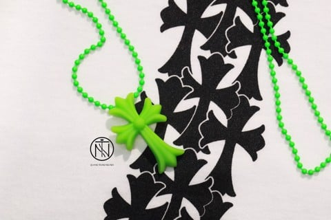 chrome hearts 20th anniversary silicone green necklace