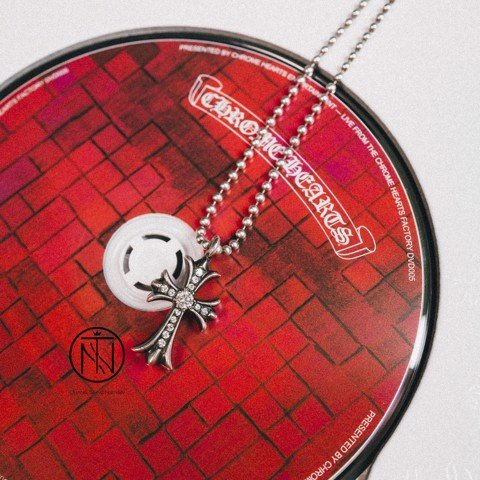 Chrome hearts tiny CH cross pave diamond pendant
