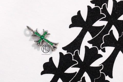 Chrome hearts tiny CH cross pave emerald