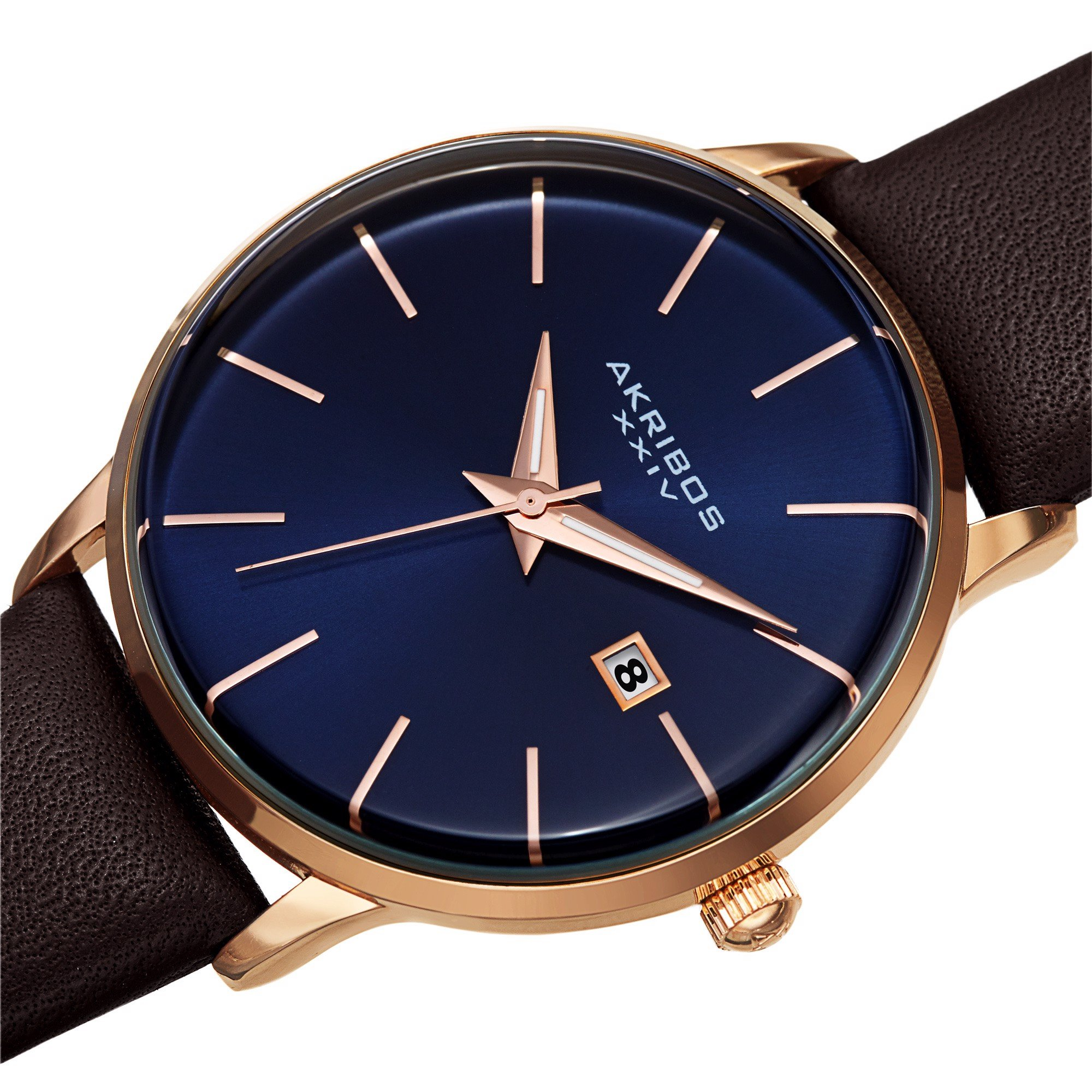 Đồng Hồ Akribos XXIV AK1064 Classic Quartz Date Sunray Dial Leather Strap Watch