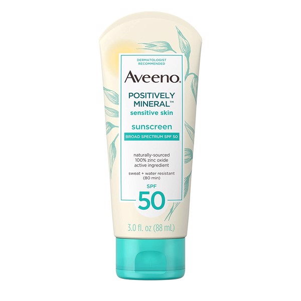 Kem chống nắng Aveeno Positively Mineral Sensitive Skin Daily Sunscreen Lotion with SPF 50