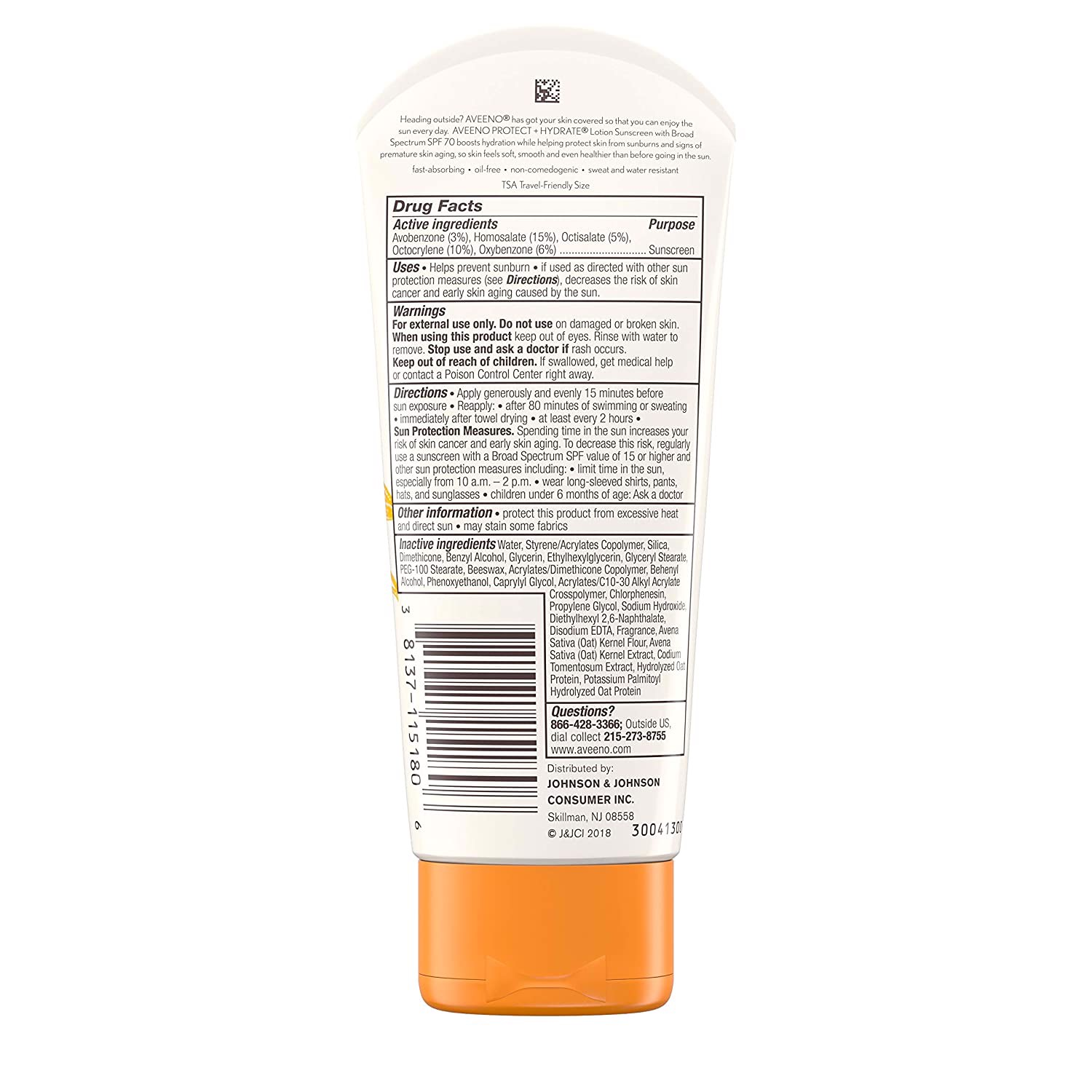 Kem chống nắng Aveeno Protect + Hydrate Moisturizing Sunscreen Lotion with Broad Spectrum SPF 70