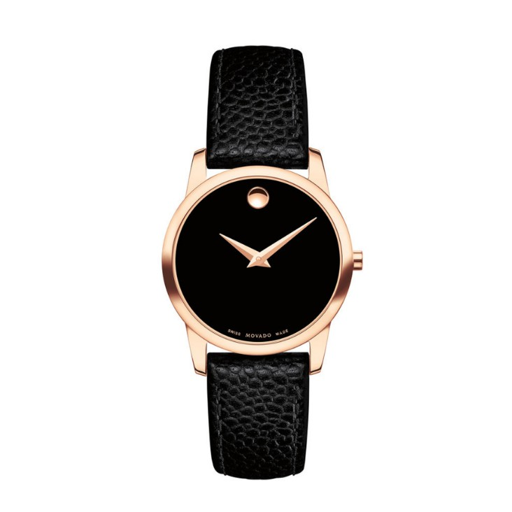 Đồng Hồ Movado Museum Black Dial Leather Ladies Watch 0607061
