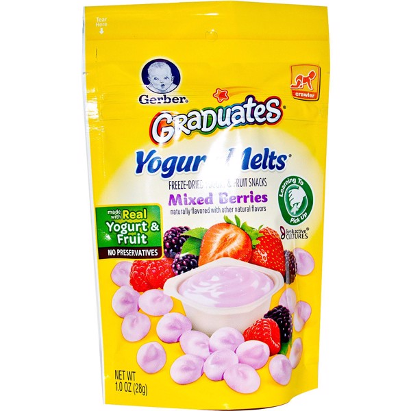 Sữa chua khô Gerber Organic Yogurt Melts, Freeze-Dried Yogurt Snacks-Vị Berries đỏ