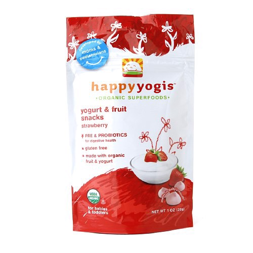 Sữa chua khô Happy Yogis Organic Yogurt & Fruit Snacks, Strawberry- vị dâu