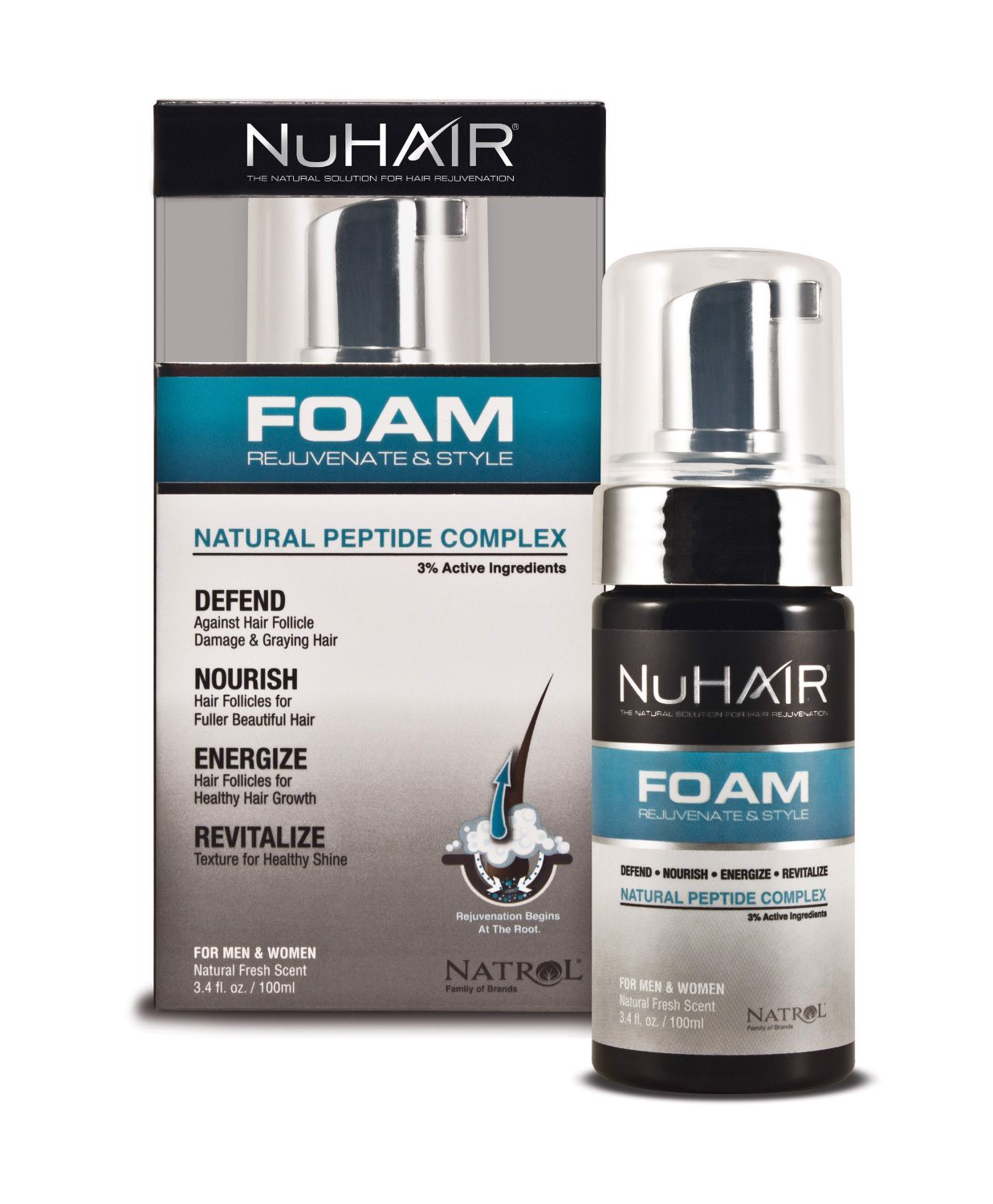 Mọc tóc NuHair Foam Rejuvenate & Style for Men & Women, Natural Fresh Scent
