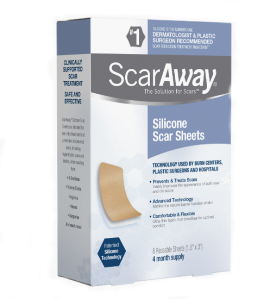 Miếng dán trị sẹo lồi, sẹo thâm ScarAway Silicone Scar Sheets, 8 miếng