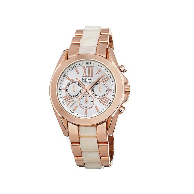 Đồng hồ nữ Multi-Function Silver-tone Dial Rose Gold-tone and Horn Resin Ladies Watch BI-BUR094RG