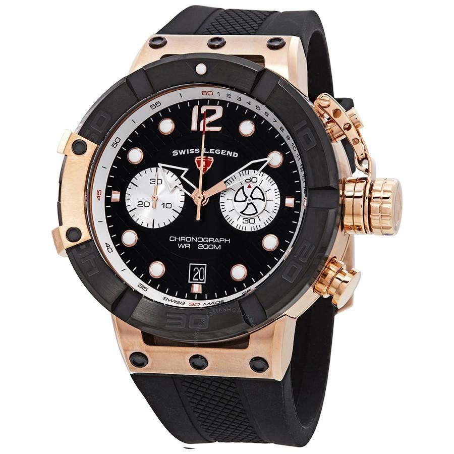 Đồng hồ đeo tay Nam Triton Chronograph mặt số màu đen dây đeo silicon (đen)
